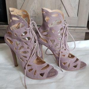 Cut cut lace up heels